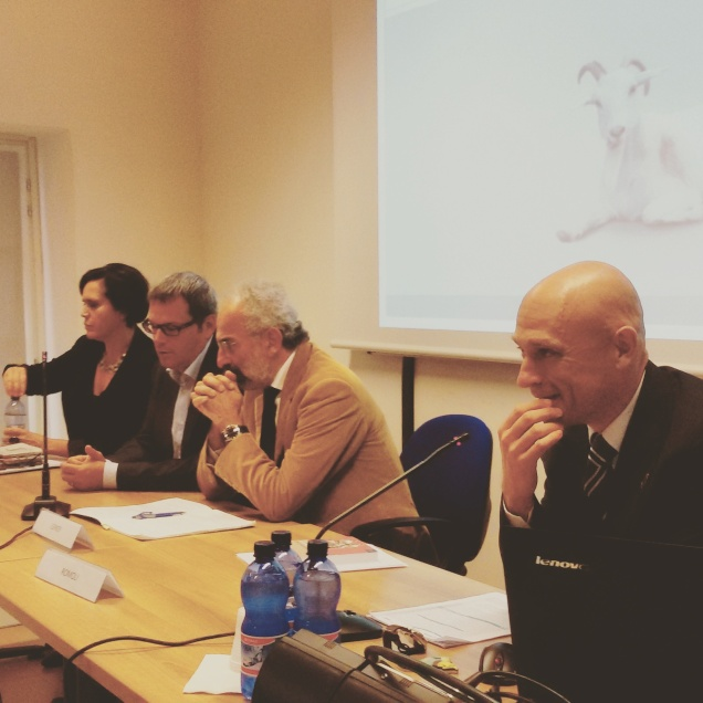 Andrea Romoli in primo piano, poi Gad Lerner, Fausto Biloslavo e Barbara Gruden
