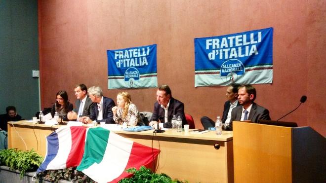 Giorgia Meloni a Trieste, con Louis Aliot del Front National: proposte e prove d'alleanza