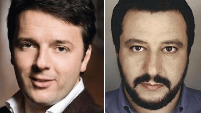 Primo piano di Renzi e Salvini