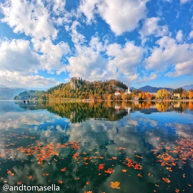 Splendidi colori autunnali che di riflettono sul lago di Bled